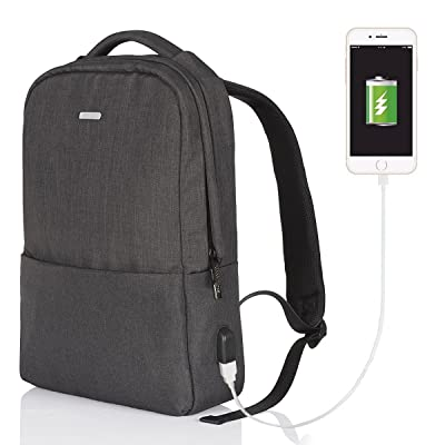 Backpack For School,GTI Water Resistant Travel Canvas Daypack Fits Up To 15.6 Inch Laptop With USB Charging Port-Black