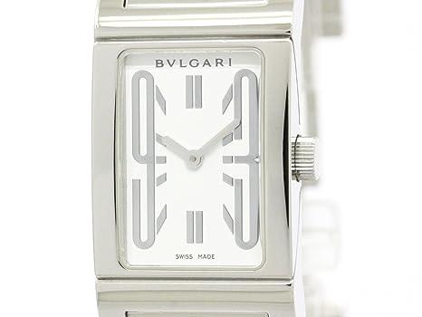 BVLGARI Rettangolo RT 39 S en acier inoxydable à quartz montre femme ... fb6545a9754