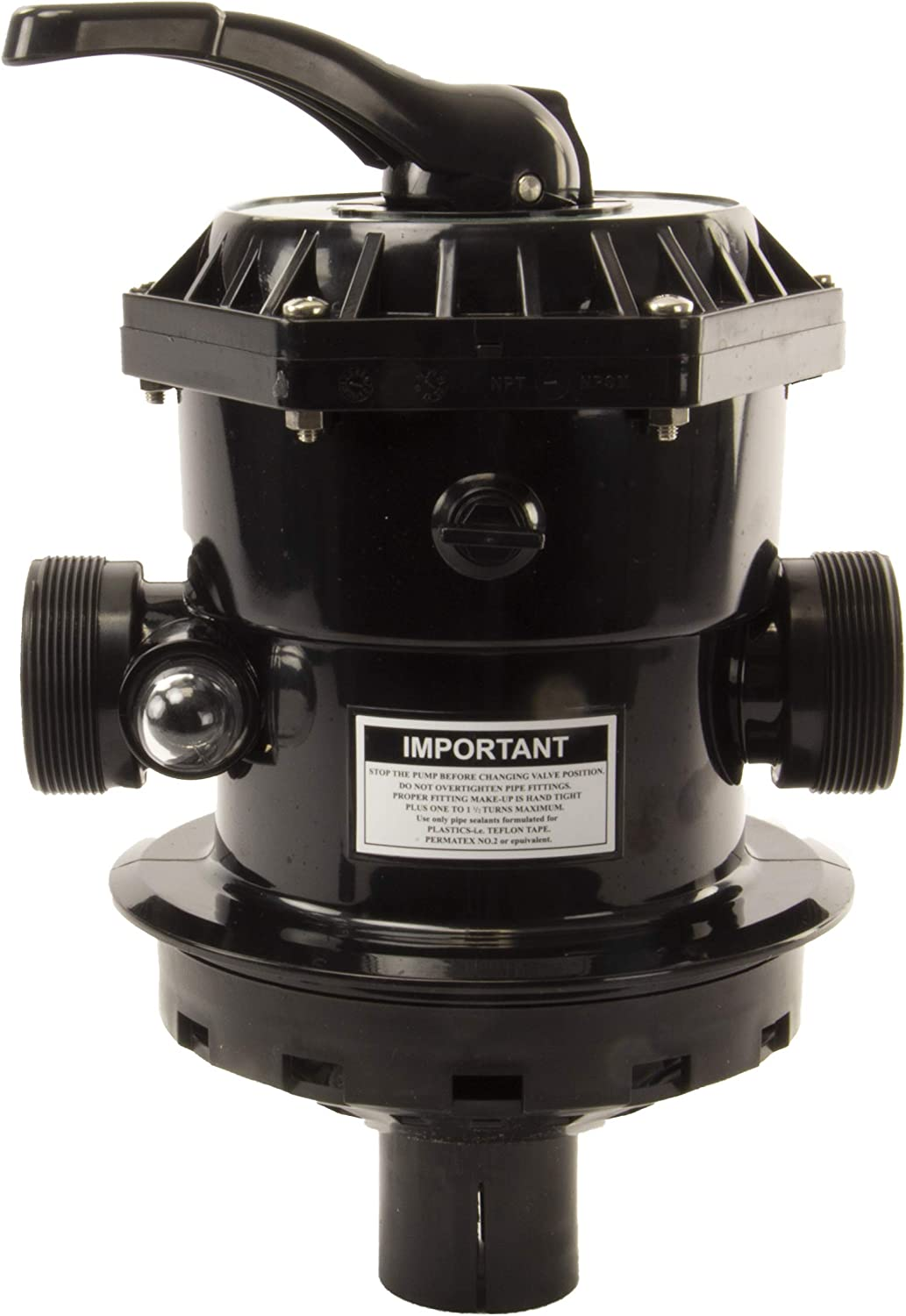 Rx Clear Backwash Valve SP-714T Replacement Multiport Valve for Hayward Above Ground Pool Sand Filters | 1-1/2-Inch 6-Way | Top Mount | Black