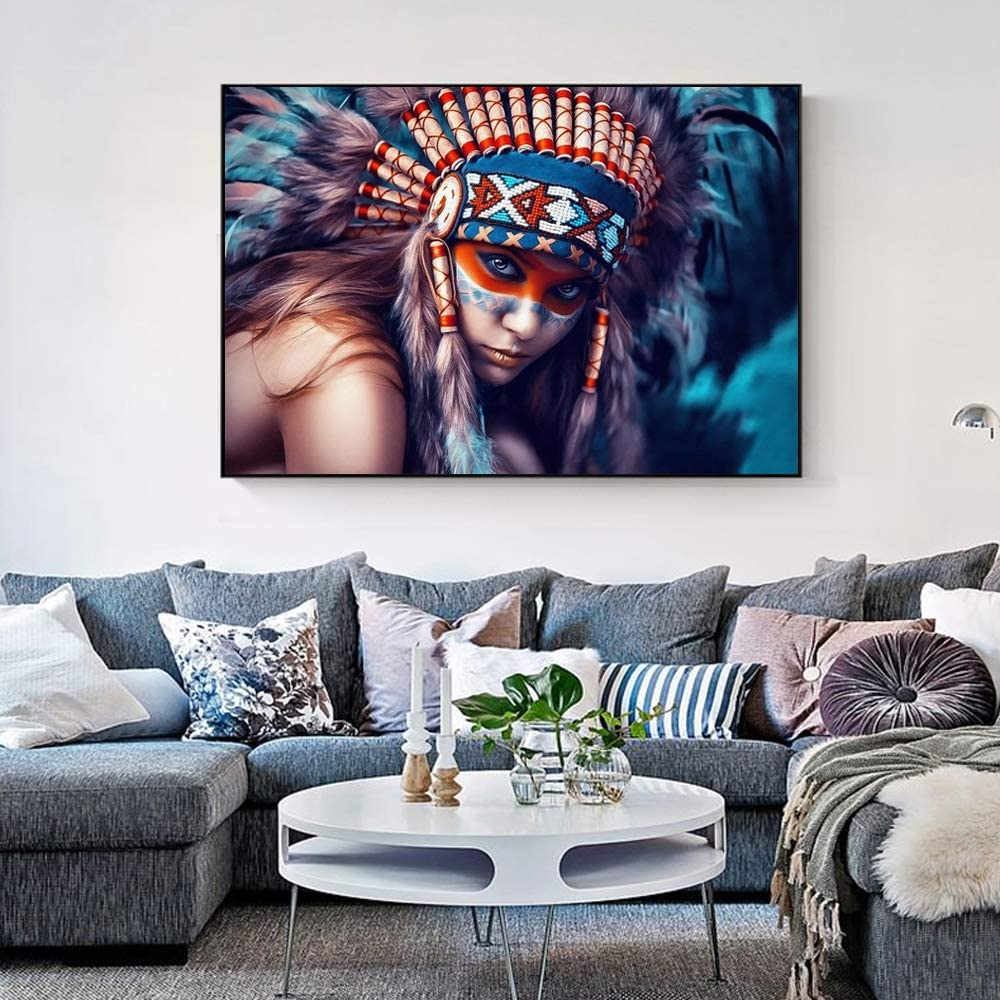 Amazon Com Gjheas Indian Body Art Canvas Painting With Feather Girl Colorful Pop Art Canvas For Indian Wall Pictures In Living Room No Frame 60x90cm Posters Prints