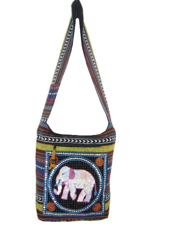 Hand Embroidered Elephant Design Sling Boho HippieShoulder Bag