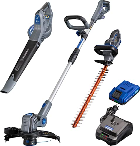 Westinghouse Cordless Leaf Blower, Hedge Trimmer and String Trimmer, 2.0 Ah Battery and Rapid Charger Included