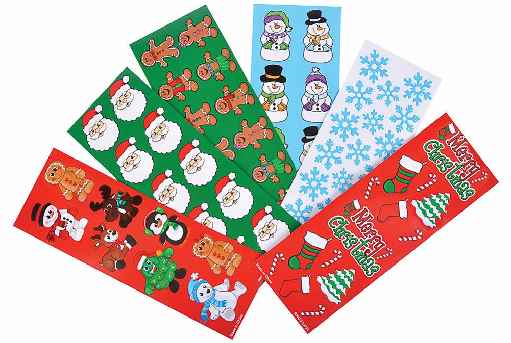 Christmas Holiday Sticker Assortment~Almost 1000 Stickers~Gingerbread Man Santa Snowflake Penguin Christmas Tree Candy Cane Snowman Christmas Stocking and more….