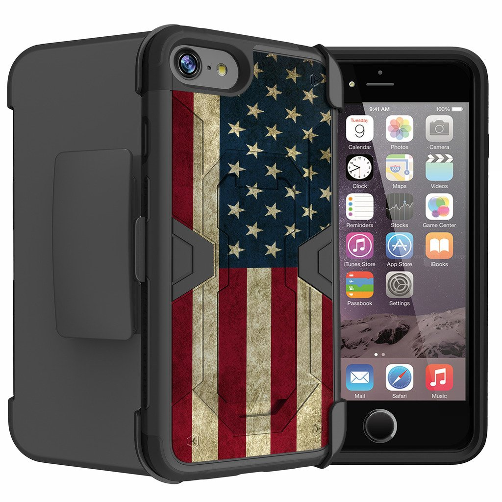 Untouchble Case for [Apple iPhone 7][Tempered Glass] [Mystic Defense] Dual [Kickstand] Case | Heavy Duty Protector Swivel Holster - Vintage American Flag