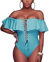 753ac408204 Tempt Me Women One Piece Bikini Lace up Ruffled Off Shoulder Flounce Monokini  Bathing Suits