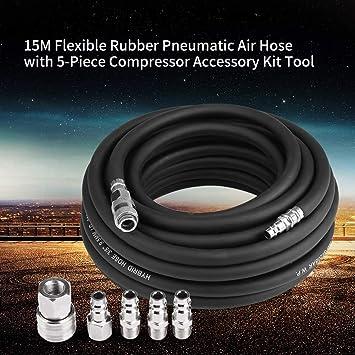 /Ø int/érieur 9,5 mm Compatible avec Les compresseurs Courants AYNEFY Tuyau /à air comprim/é 15M Tuyau /à air pour compresseur Jeu de tuyaux /à air comprim/é en Caoutchouc renforc/é avec 5 Accessoires