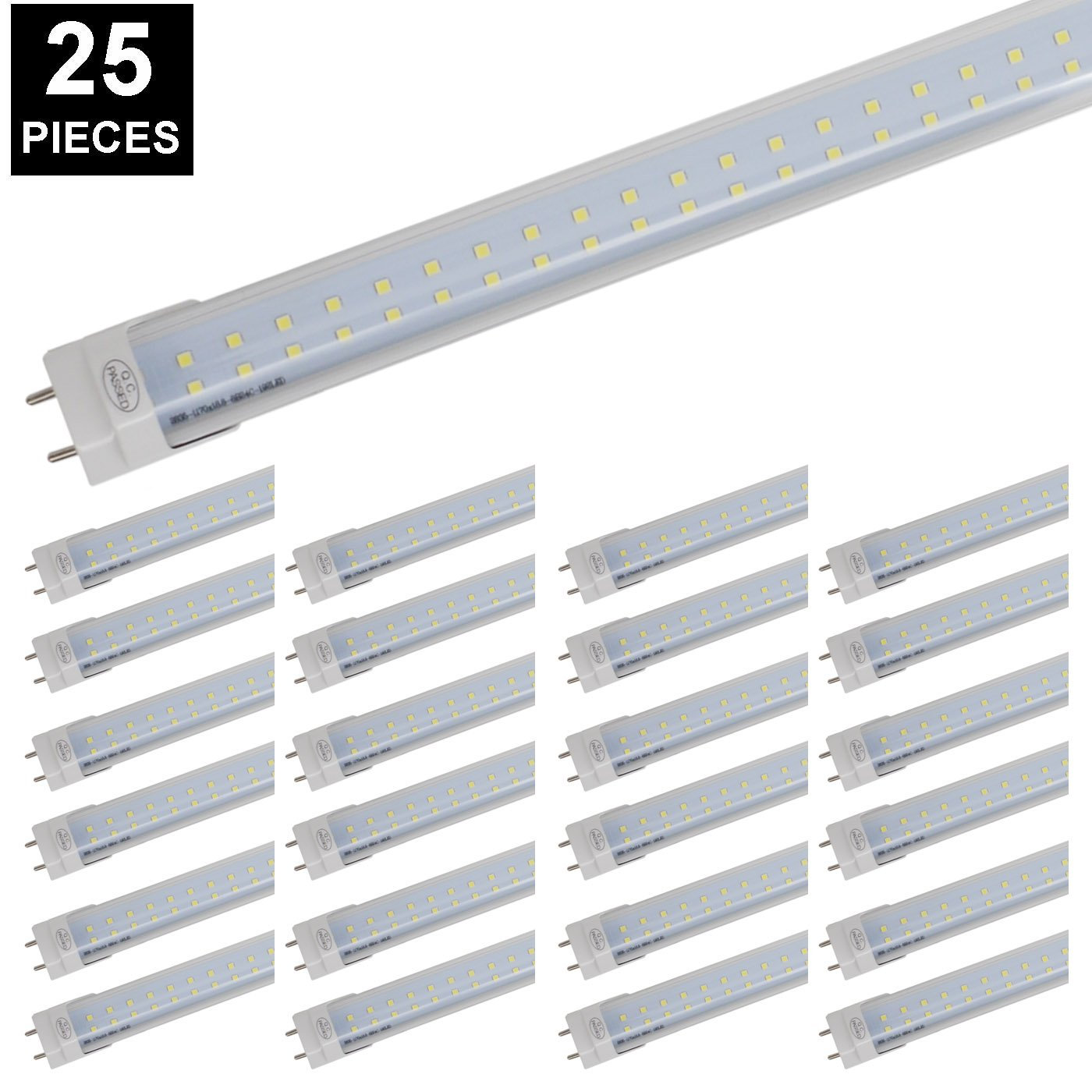CNSUNWAY 4ft LED Tube, 48'' 28 Watt Dual Row Light Bulb 2800LM Lamps 6000K Cool White with Clean Cover (25 Pack)