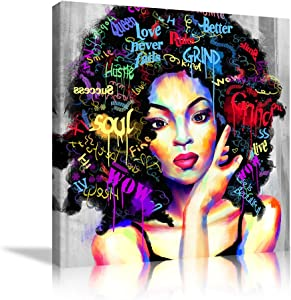 African American Wall Art Black Women Wall Decor African Women Poster Black Girls Artwork Hippie Letter Art Hair Print Canvas Painting for Bedroom Living Room and Home Decor Framed Ready to Hang