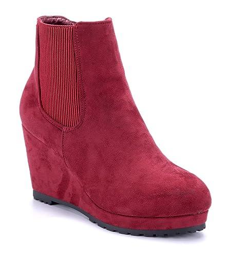 Schuhtempel24 Damen Schuhe Keilstiefeletten Stiefel Stiefeletten ...