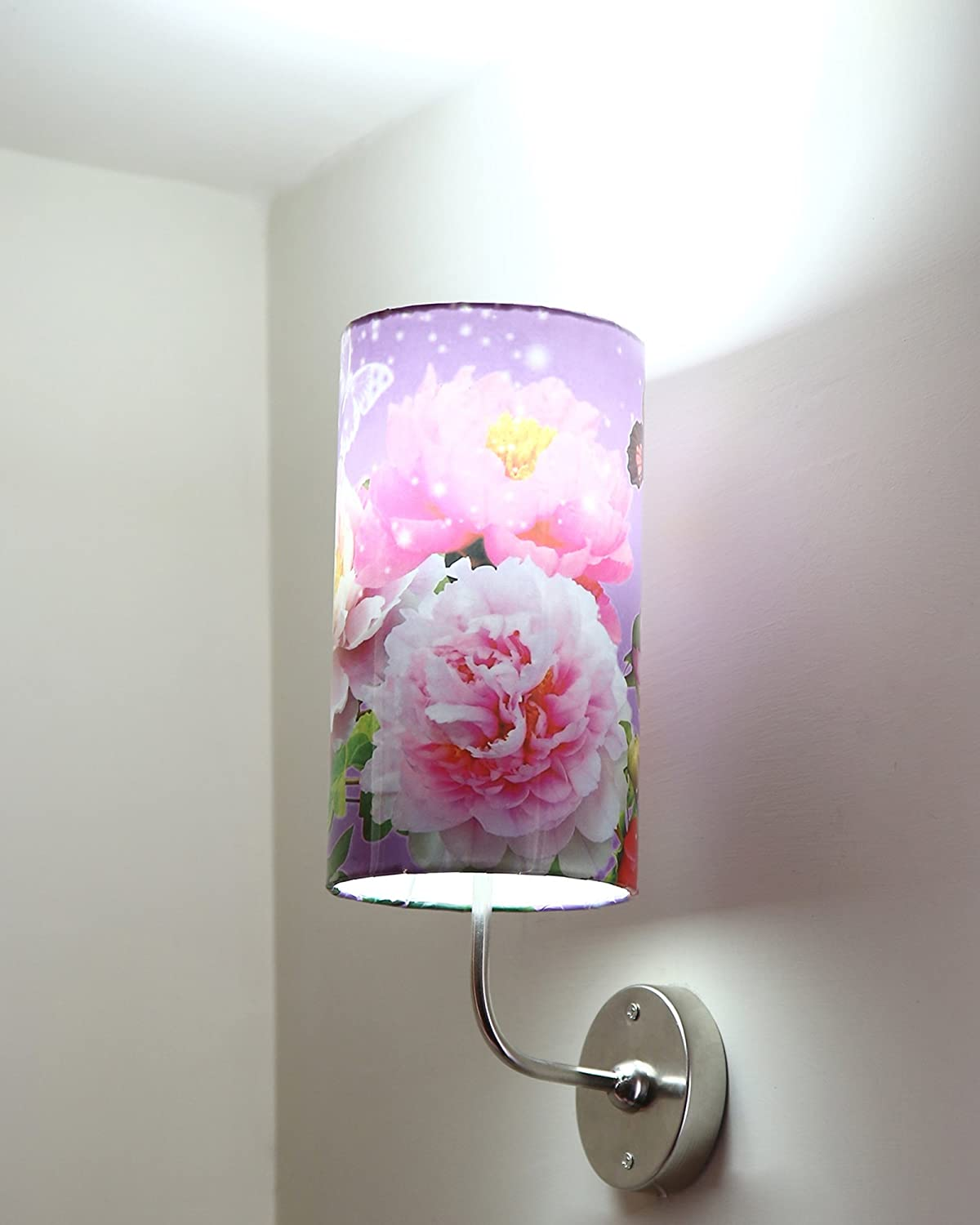LIGHT ANGLE Handmade Plastic with Color Paper Sheet Crafted Floral Sceneted Wall Sconce Lamp (5.5x5.5x8 inch, Multicolor)
