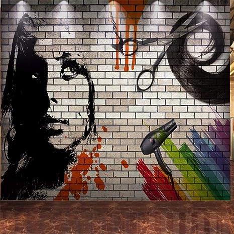 Mural Papel Pintado Etiqueta De La Pared Free Shipping Custom Brick Wallpaper 3d Wall Hand Painted Hairdressing Hair Salon Backdrop Wall Modern