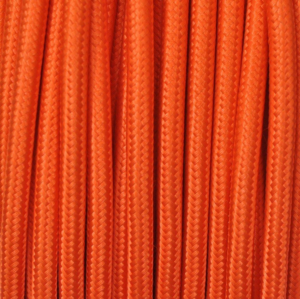 Cavo elettrico tondo rivestito in tessuto colorato per lampadari, lampade, abat jour. Il cavo elettrico diventa design! Scegli fra 30 colori. 5 Metri 2x0,75. Made in Italy! Arancio Merlotti Cavi