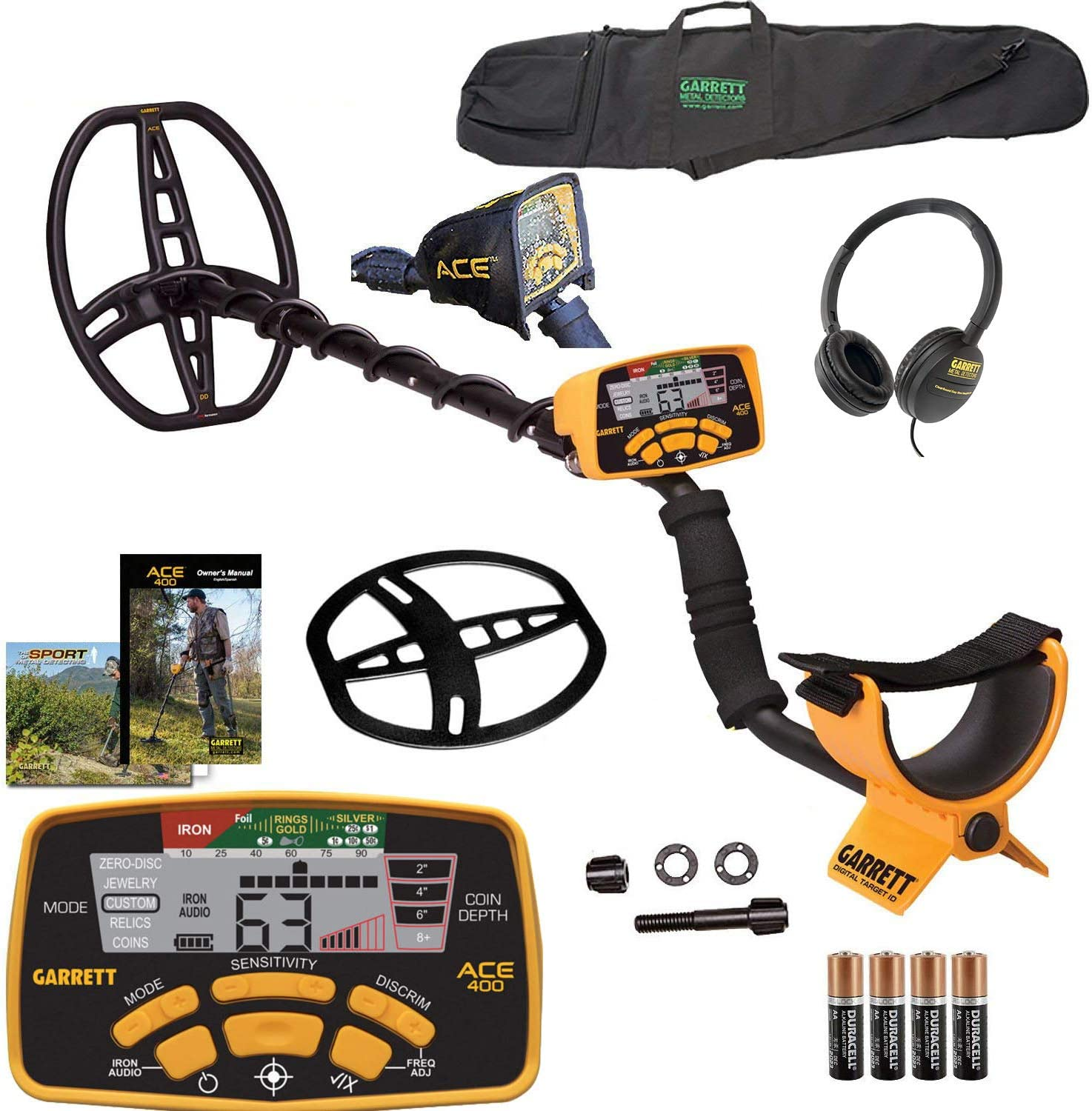 Garrett ACE 400 Metal Detector with DD Waterproof Search Coil and Carry Bag (Pack 1) (1)
