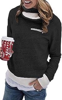 ECOWISH Damen Pullover Lose Langarm Sweatshirt Patchwork Blumen Top Kurz  Sweater 699d350f10