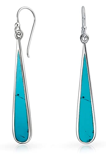 21cab08a9 Amazon.com: Boho Fashion Blue Compressed Turquoise Inlay Long Flat ...