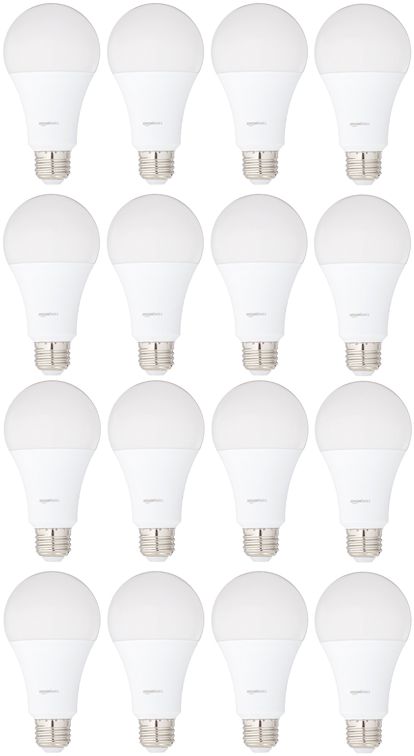 AmazonBasics 100 Watt Equivalent, Soft White, Dimmable, A21 LED Light Bulb, 16-Pack