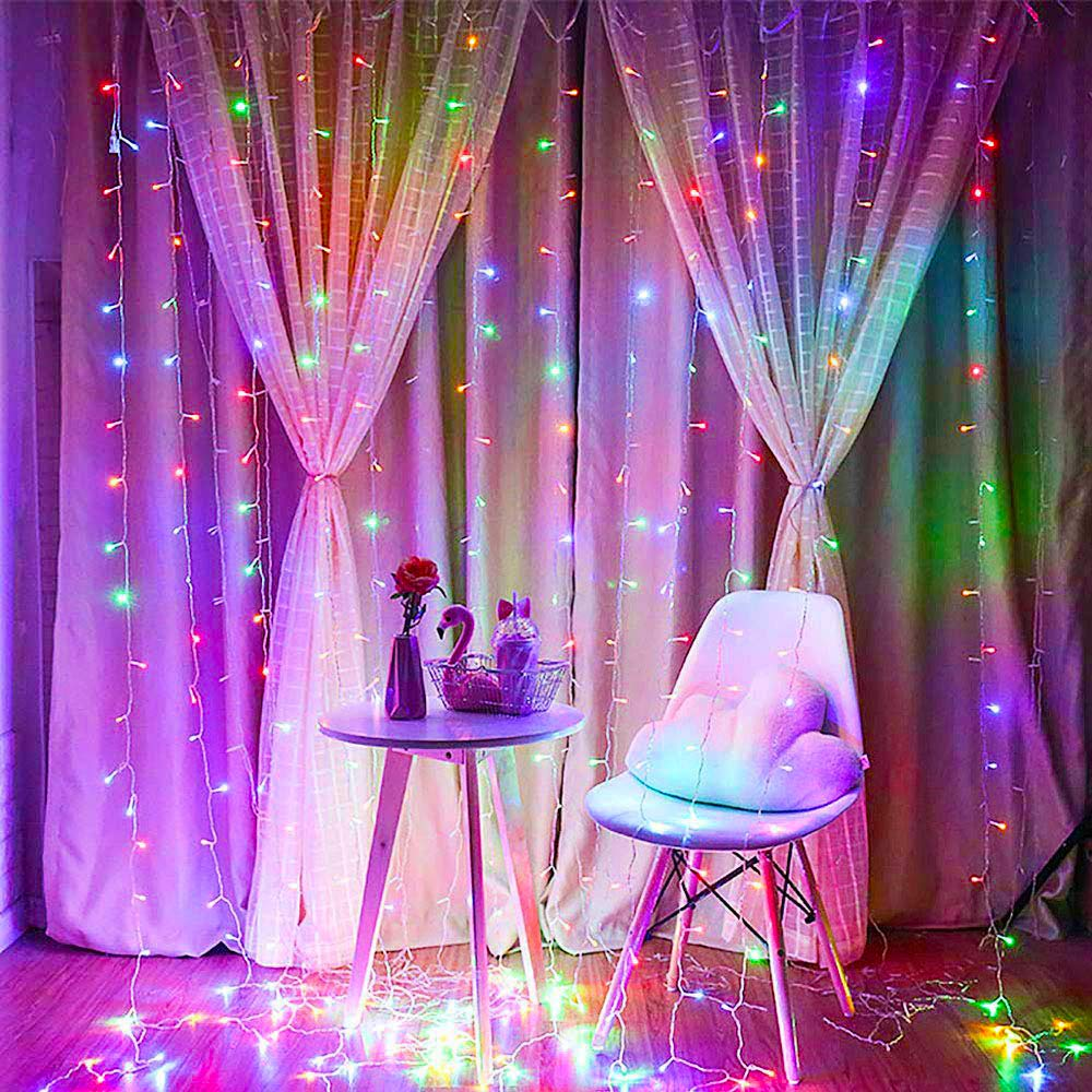 Qunlight Star 304 LED 9.8ftx9.8ft 30V 8 Modes with Memory Window Curtain String Lights Wedding Party Home Garden Bedroom Outdoor Indoor Wall Decorations (Multicolor)