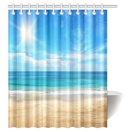 Amazon.com: InterestPrint Ocean Beach Shower Curtain, Tropical ...