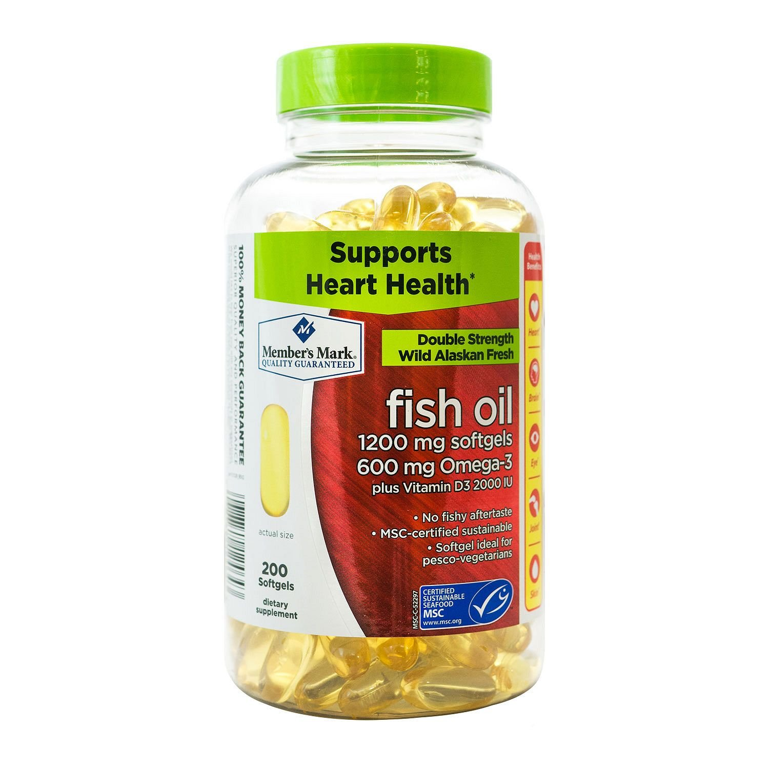 Member's Mark 1200mg Double Strength Wild Alaskan Fresh Fish Oil (200 ct.) (pack of 6)