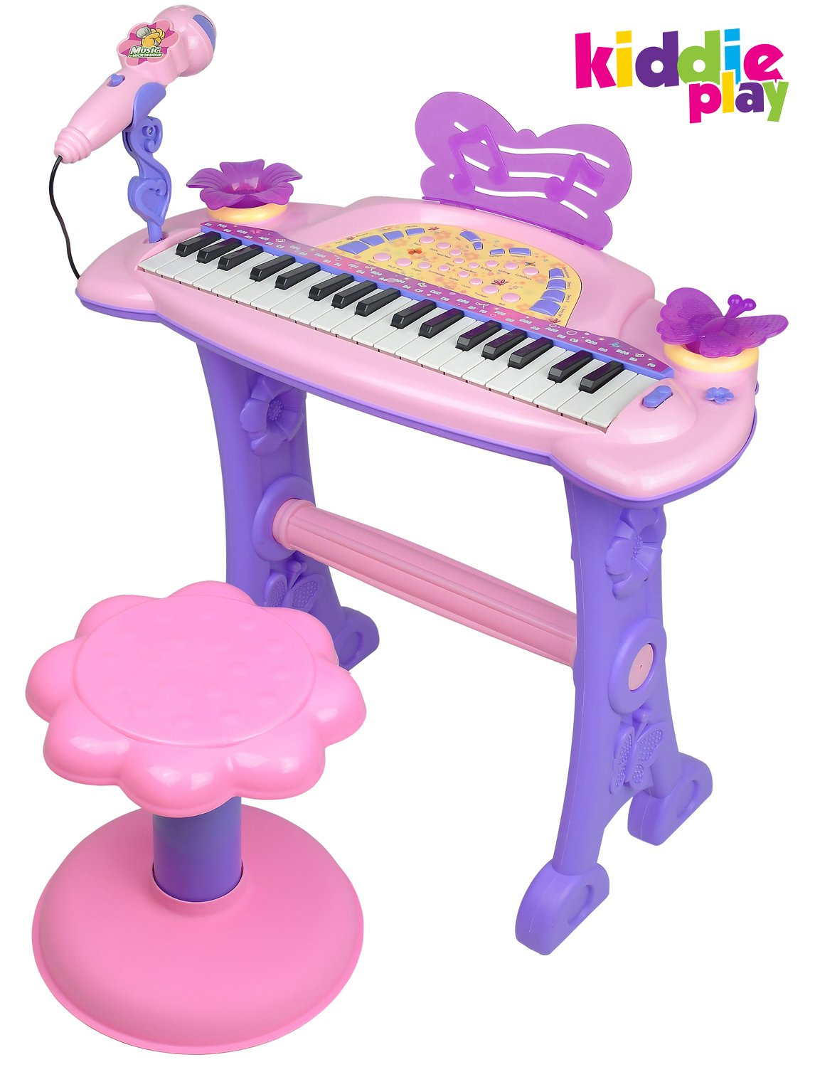 Kiddie Play Electronic 37-Key Toy Piano Keyboard for Kids with Real Working Microphone and Stool (Pink) (with USB Adapter)