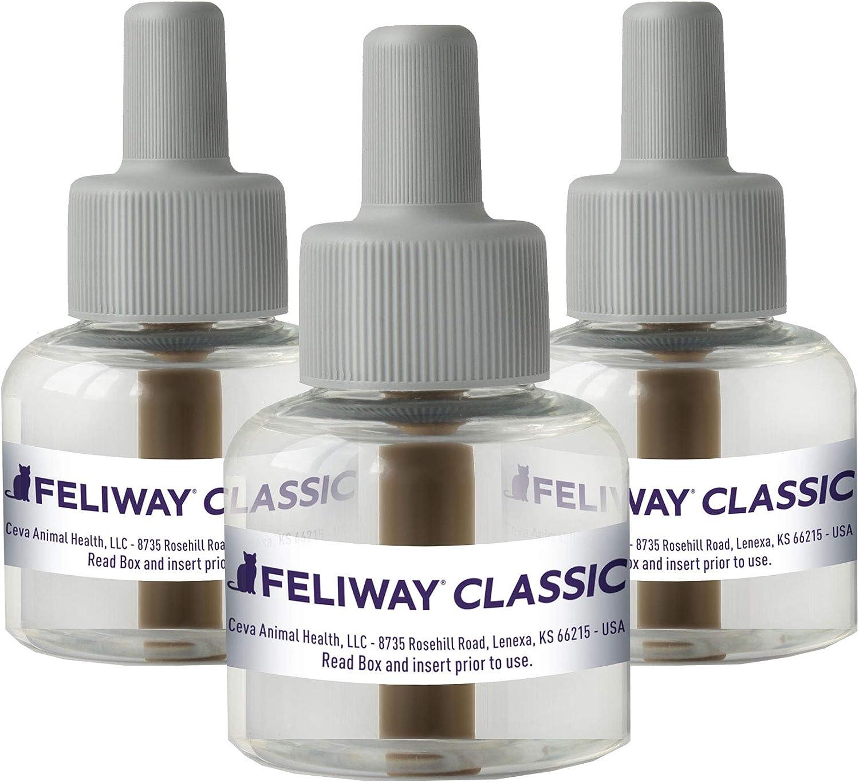 Feliway Plug-In Diffuser Refill, 48 mL, 3-Pack, Model:3PK : Pet Relaxants : Pet Supplies