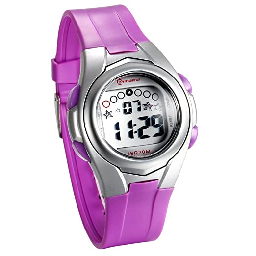 JewelryWe Relojes para Niños Niñas Reloj Deportivo Digital Para Aire Libre Reloj A Prueba de Agua 3ATM Correa de PVC Reloj de Color Violeta para El Verano: ...