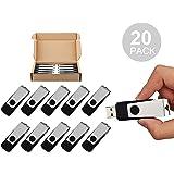 TOPSELL 20PCS 2GB Bulk USB 2.0 Flash Drive Swivel Memory Stick Thumb Drives Pen Drive (2G, 20 Pack, Black)