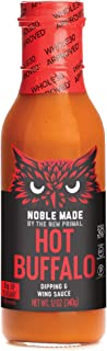 product image for Noble Made by The New Primal Hot Buffalo Dipping & Wing Sauce, Whole30 Approved, Paleo, Keto, Vegan, Gluten and Dairy Free, Sugar and Soy Free, Low Carb and Calorie, Spicy Flavor, 12 Oz Glass Bottle