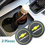 2Pcs 2.75 Inch Car Cup Holder Coasters for Chevrolet, Car Interior Accessories, Silicone Durable Anti Slip Car Cup Holder Coasters for Chevy, Silverado,Corvette,Cruze,Malibu,Epica,Volt,etc All Models