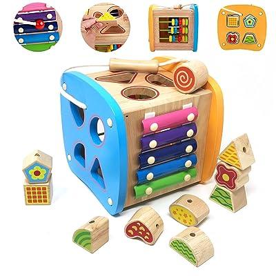 Lewo Trieur de Formes Centres d'activités en Bois Cube de Tri de Formes Perles De Laçage pour Enfants et Bébés