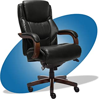 product image for La-Z-Boy Delano Big & Tall Executive Office Chair | High Back Ergonomic Lumbar Support, Bonded Leather, Black with Mahogany Wood Finish | 45833A