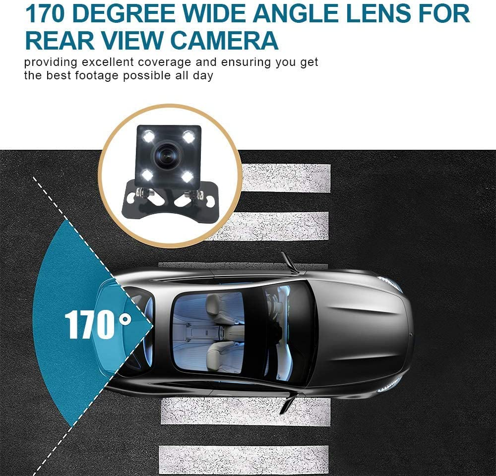 Backup Camera,HD CMOS Waterproof Viewing Angle 4LED Car Reversing Rear//Front//Side Views Security Pinhole Spy Camera Opinional guideline BC006