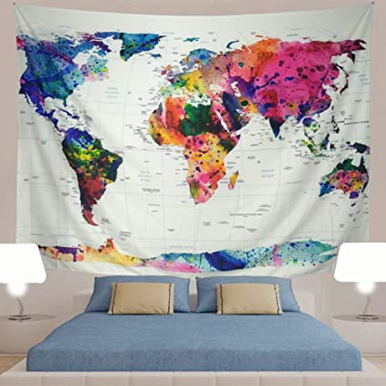Amazon generleo world map tapestry wall hanging vintage generleo world map tapestry wall hanging vintage watercolor colorful tapestry retro hippie tapestry for bedroom home gumiabroncs Image collections