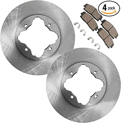 Detroit Axle Drilled /& Slotted FRONT Brake Kit Rotor Set /& Brake Kit Pads w//Clips Hardware Kit Performance GRADE for 2000 2001 Dodge Ram 1500 4WD 5 Lug