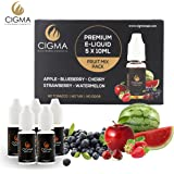 CIGMA 5 X 10ml E Liquid Mixed Fruits | Apple | Blueberry | Cherry | Strawberry | Watermelon | New Premium Quality Forumla with Only High Grade Ingredients | Made For Electronic Cigarette and E Shisha