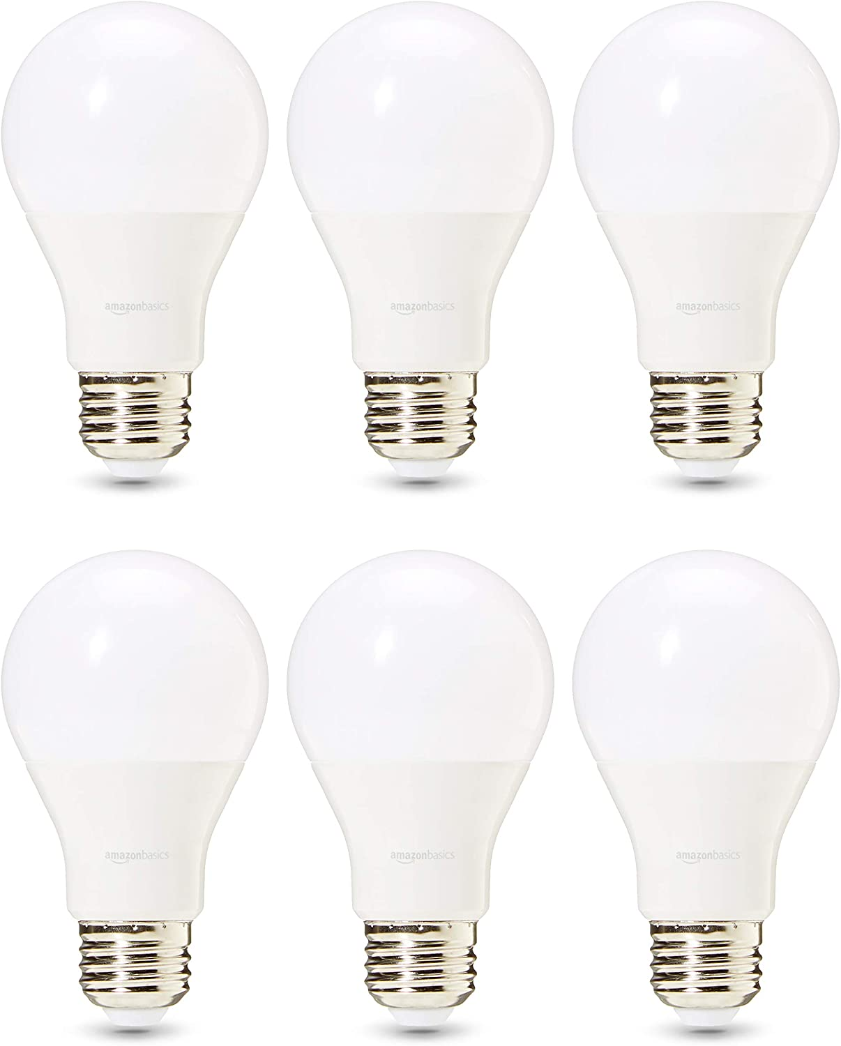 AmazonBasics Commercial Grade 25,000 Hour LED Light Bulb | 60-Watt Equivalent, A19, Soft White, Dimmable, 6-Pack