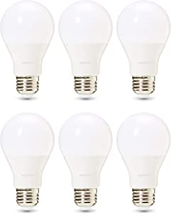 AmazonBasics Commercial Grade 25,000 Hour LED Light Bulb | 60-Watt Equivalent, A19, Soft White, Dimmable, 6-Pack