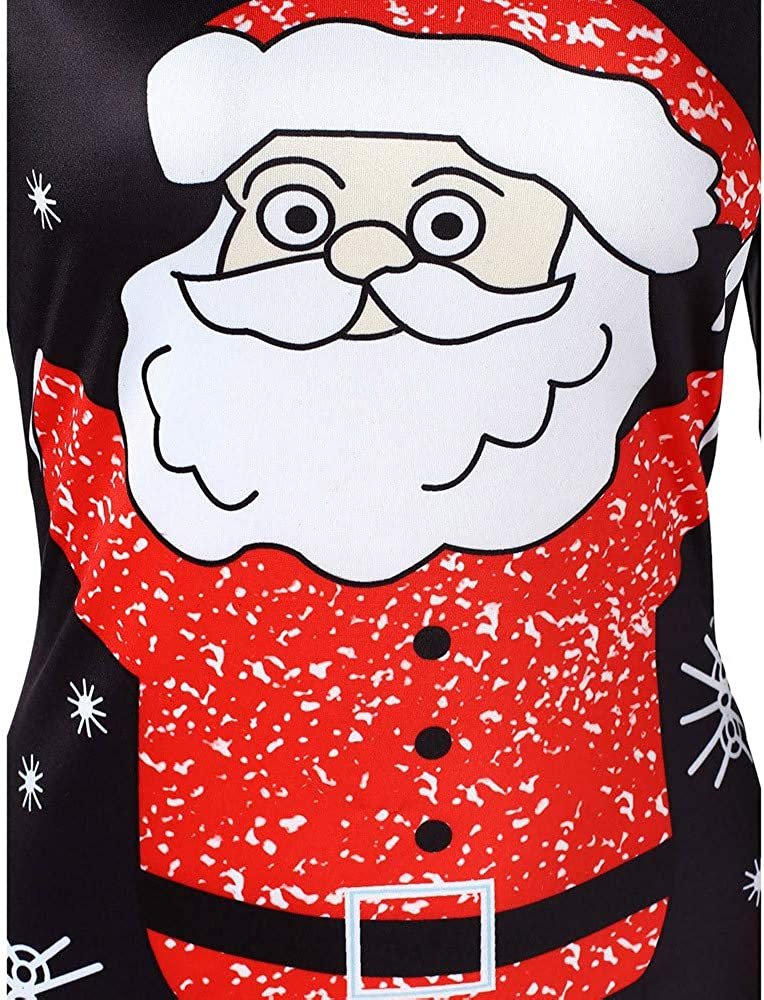 PASATO 2018 Women O-Neck Long Sleeve Christmas Santa Claus Printed Bodycon Dress