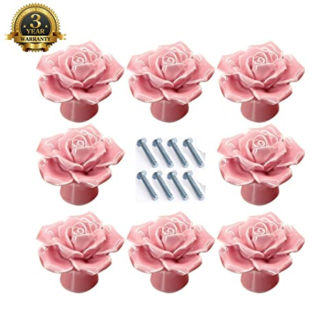 Rose Drawer Knobs, TopRay 8PCS Ceramic Vintage Floral Rose Dresser ...