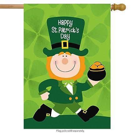 amazon com st patrick s day leprechaun house flag pot of gold 28