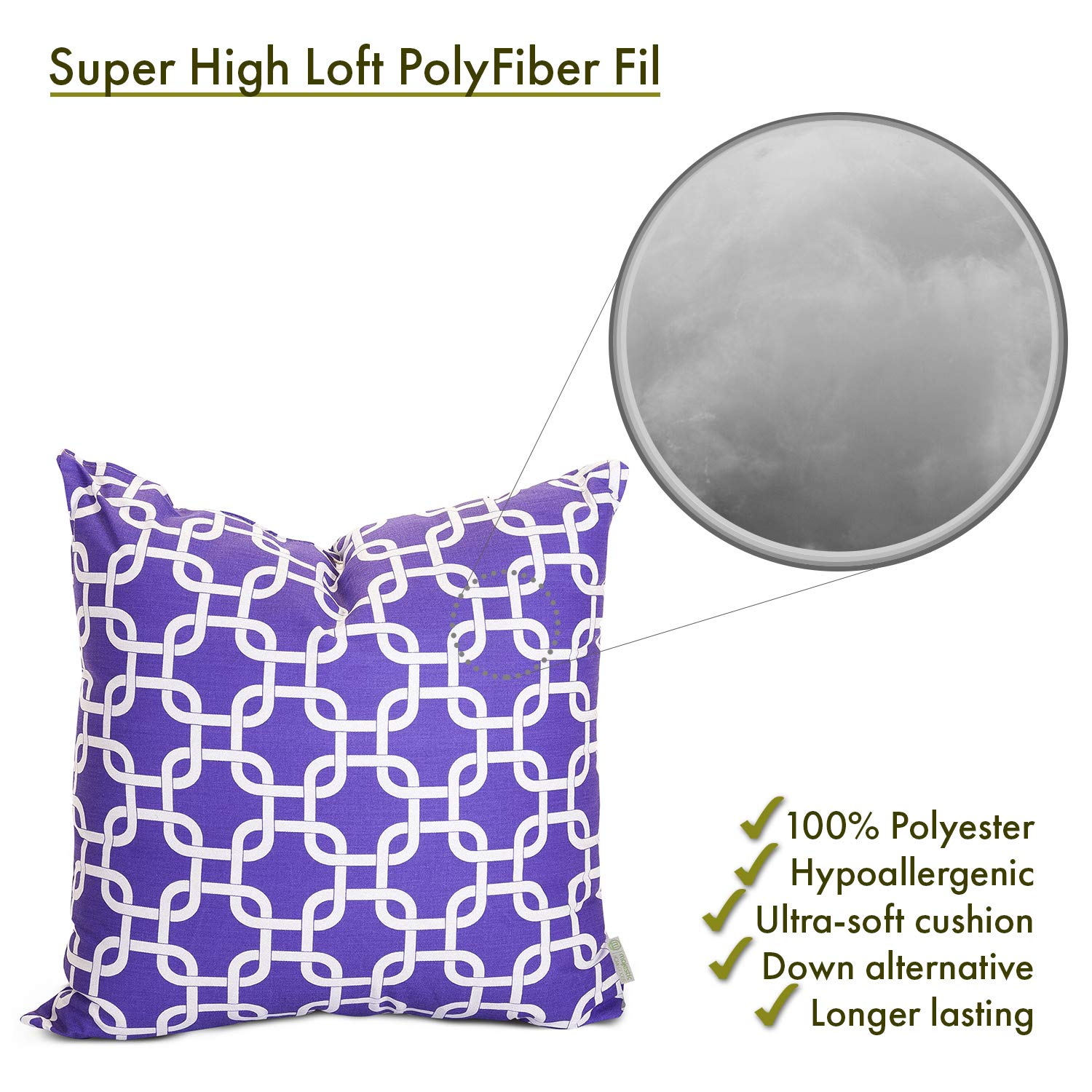 Majestic Home Goods Purple Links Indoor Large Pillow 20 L x 8 W x 20 H