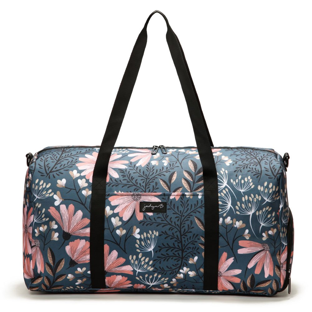 Jadyn B 22'' Women's Weekender Duffel Bag with Shoe Pocket, Navy Floral by Jadyn B