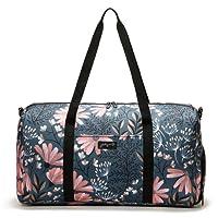 """Jadyn B 22"""" Women's Weekender Duffel Bag with Shoe Pocket, Navy Floral"""