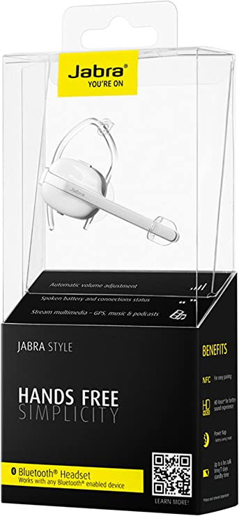 Jabra Style Wireless Bluetooth Mono Headset Kabelloses On Ear Headset Zum Telefonieren Mit Transparenten Ohrbügeln Und Sprachmeldungen Geeignet Für Handy Smartphone Tablet Und Pc Weiß Elektronik
