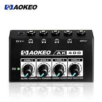 aokeo Super compacto 4 canales estéreo/mono amplificador de auriculares o mezclador con DC 12