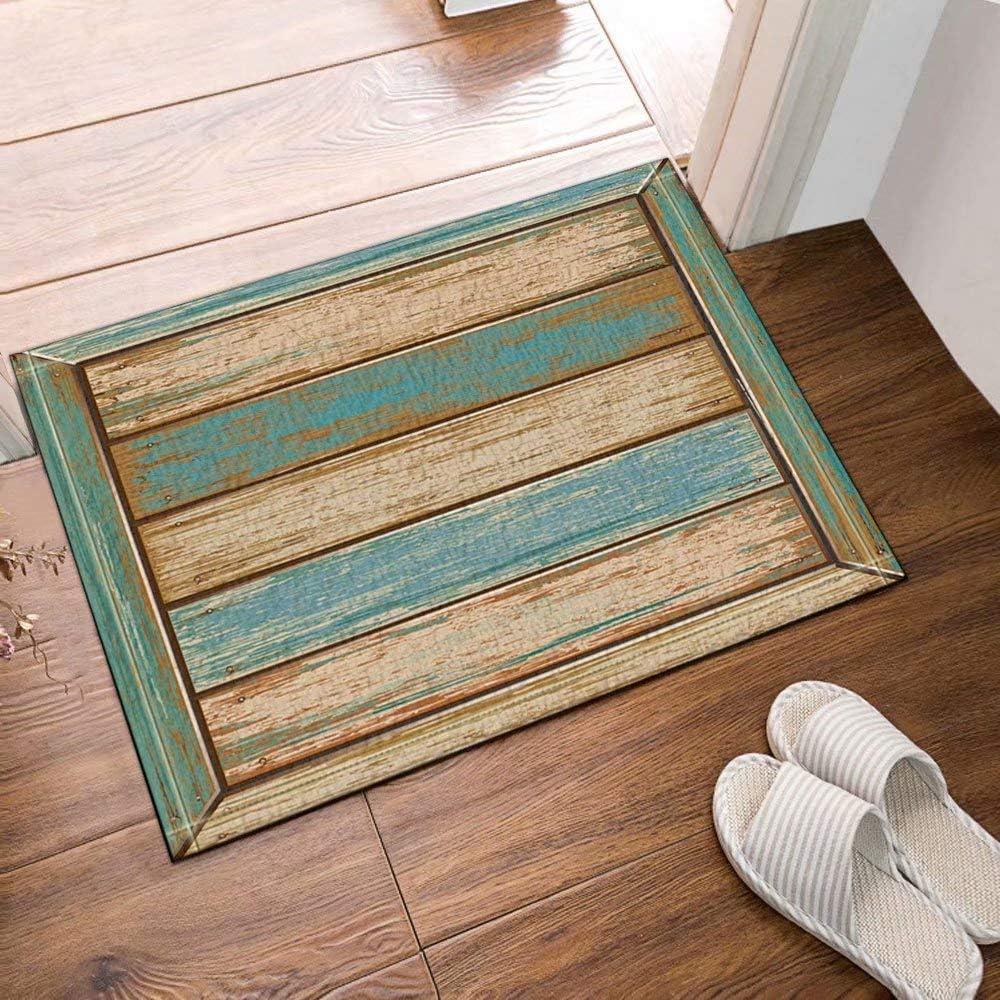 InterestPrint Antiguos tablones Estilo americano Alfombras de baño de tela de madera rústicas occidentales Entradas antideslizantes en el piso Alfombrilla exterior para puerta de entrada, 50x80cm