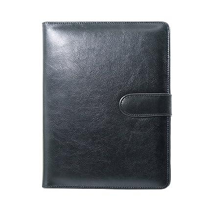 Laconile Agenda con carpeta de anillas, tamaño A5, de piel sintética, recargable, con hojas para notas, 95 páginas, color negro
