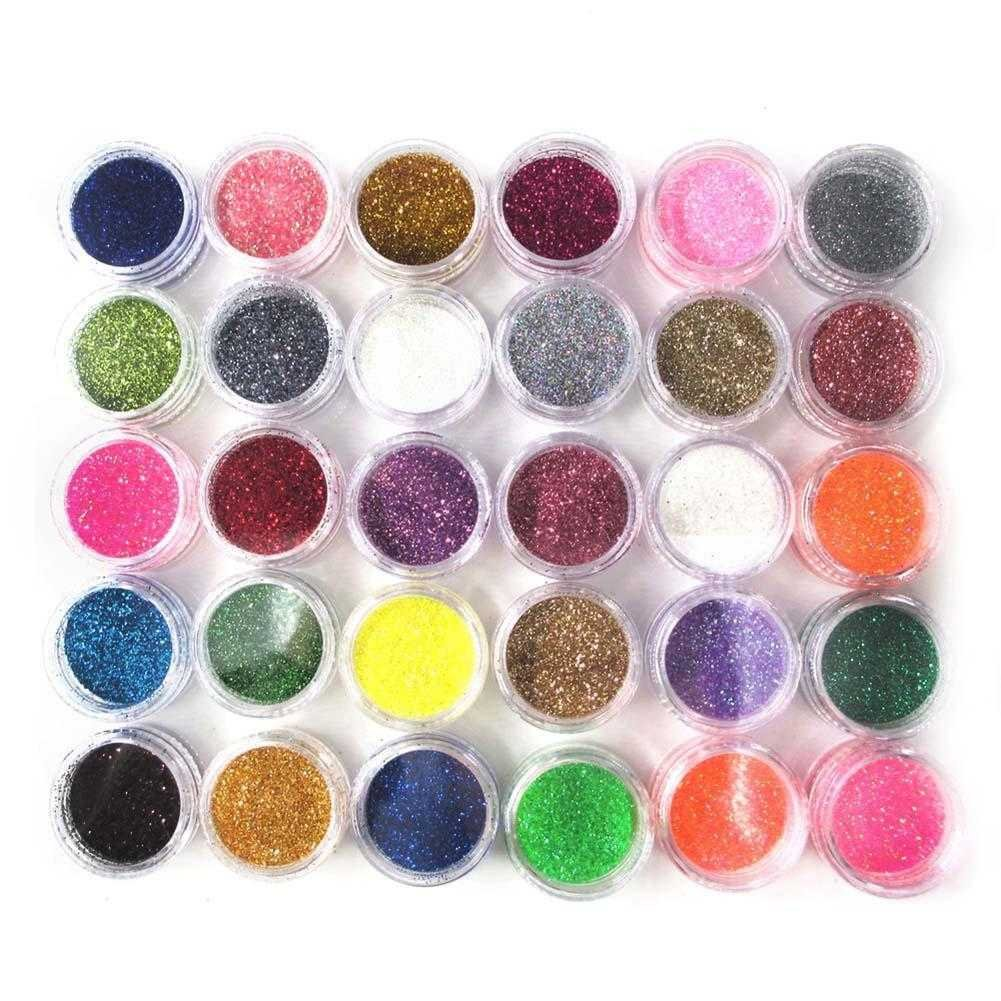 Gracefulvara 30pcs Glitter Nail Art Powder Dust Acrylic UV Gel Tips Set