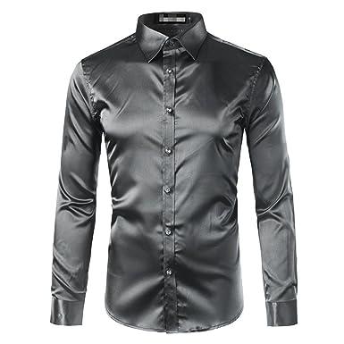 Beancan New Gold Silk Satin Shirt Men Chemise Homme New Fashion Mens Slim Fit Long Sleeve