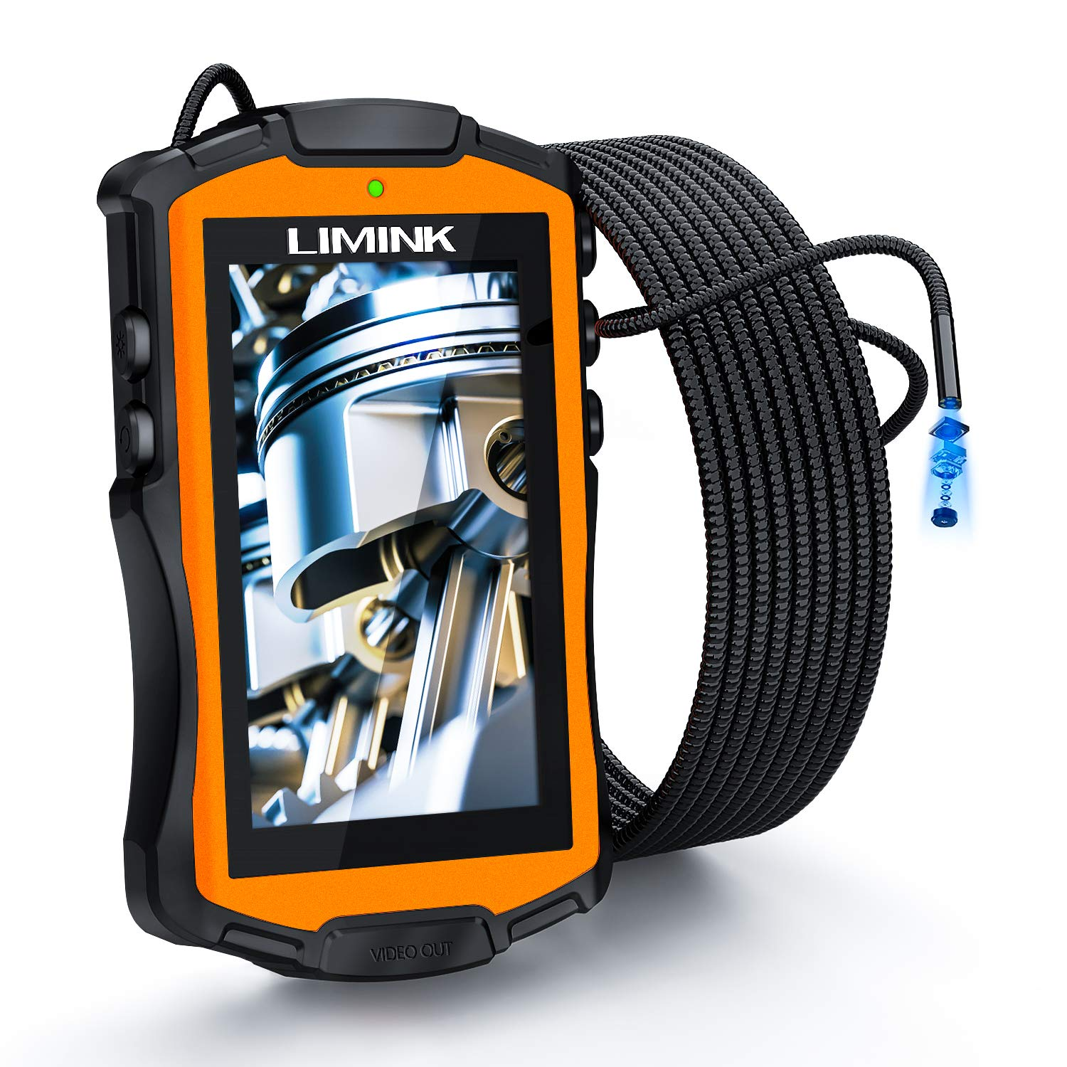 L LIMINK Industrial Endoscope Inspection Camera with 5.3mm Lens & 4.3in LCD Screen Semi-Rigid Snake Camera IP67 Waterproof Borescope with LED Lights - 9.8FT/3M by L LIMINK